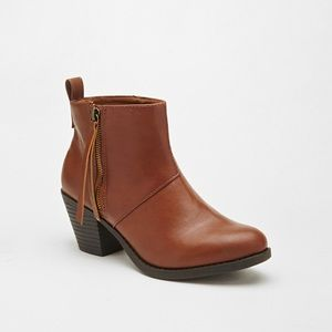 Brown Zippered Faux Leather Booties